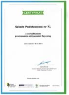 Certyfikat promowania aktywności fizycznej