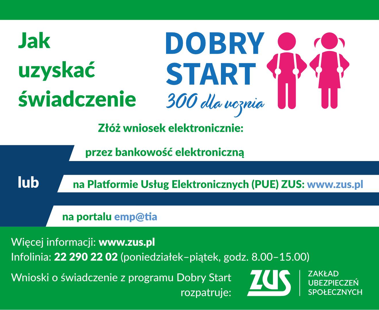 Dobry start infografika - link do zus.pl