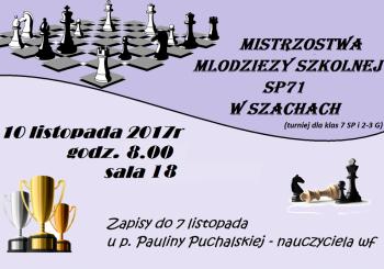 Mistrzostwa Młodzieży Szkolnej w szachach – 10.11.2017r